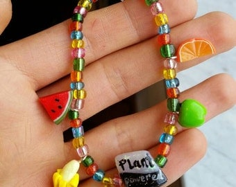 Plant Powered - Custom Sculpted Fruit Beaded Charm Bracelet Polymer Clay