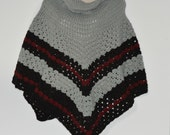 Adult cowl neck poncho in gray, Turtleneck poncho in burgundy, Chunky crocheted poncho, Winter Sweater, Gifts for her, Under 50