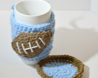 Baby Blue Coffee Mug Sleeve And Coaster Set , Football Coffee Cozy , Gifts For Him , Secret Santa , Gifts under 10 , Ready To Ship