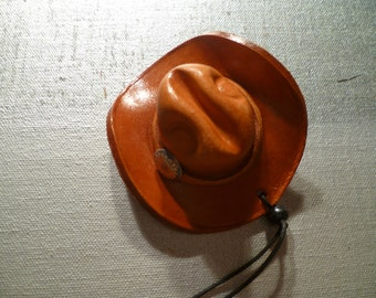 Vintage Miniature Leather Hat - Native American - Indian