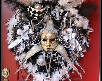 ON SALE - Huge Black White Mardi Gras Wreath, Masquerade Wreath, New Years Wreath, New Orleans Venetian Jester Wreath