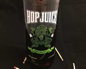 Custom Soy Upcycled Beer Bottle Container Candle-LEFT COAST BREWING Hop Juice Double India Pale Ale