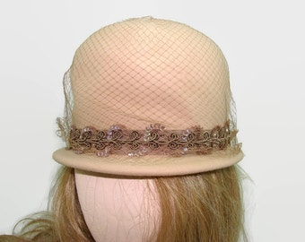 Henry Pollack Tan Wool Bucket Hat, Peachfelt 100% Wool Hat with Sequins and Netting, Brown Bowler Derby