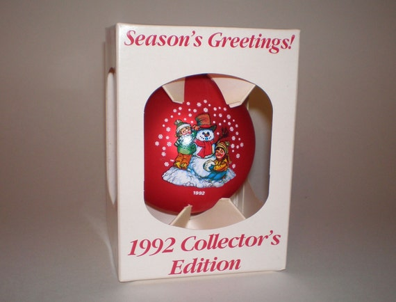 1992 Campbell Soup Kids Ornament, Red Satin Glass Snowman Ornament in Original Shipping Box, Collector's Edition Ornament