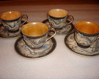 Set Of Eight Vintage Fairyland China Hand Painted Moriage Dragonware Demitasse Cups And Saucers
