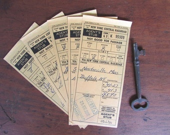 Railroad Tickets Vintage Agent's Stub New York Central Railroad