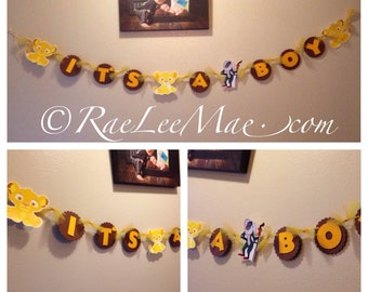 Lion King Baby Shower Banner or Birthday Banner, its a boy banner, welcome baby banner, happy birthday banner, lion king theme party banner