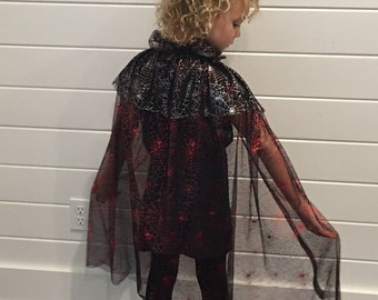 Reversible Halloween Wizard Warlock Costume Magic Loop Dress Up Cape Cloak in Red and Silver Metallic Spider Web Mesh