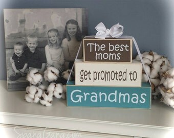 "Gift for Nana - Wood Block Stack: ""The Best Moms Get Promoted to Nanas"" - Pregnancy Announcement. Grandparent news"