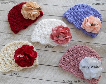 Baby girl hat with flower, crochet baby girl hat, newborn hats, baby hats, infant hat, soft baby hat, knitted baby hats, baby shower gift