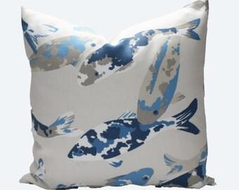 Decorative Designer Indoor Outdoor, Koi Fish, Blue, Taupe, 18x18, 20x20 or Lumbar Throw Pillow