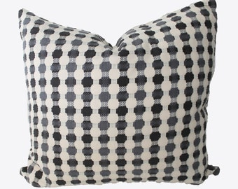 Decorative Embroidered Crewel, Grey, Charcoal Pillow Cover, 18x18, 20x20, 22x22 or Lumbar Throw Pillow