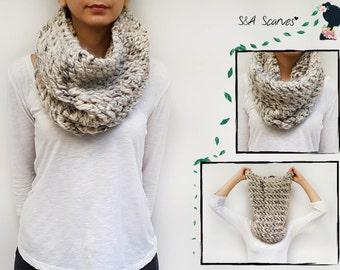 Gift Cowl Oatmeal, Chunky Gift Scarf, Knit Wrap Winter, Wrap Wool Women, Big Womens Top, Warm Top, Snood Knit Gift, Size Plus Crochet