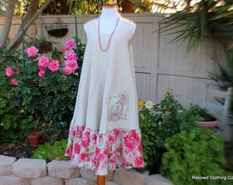 Linen Dress Simple Natural Handmade Women's Clothing Garden Party Dress Size Medium Large Clothes