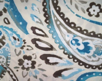 Outdoor / Indoor Pillow Cover Brown Blue Paisley Print