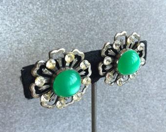 Green Thermoset & Rhinestone Vintage Earrings