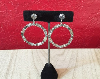 Vintage Glamor Dangling Rhinestone Hoop Earrings