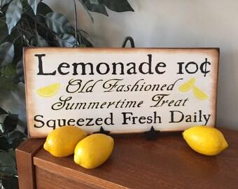 Vintage Old Fashioned Lemonade Wooden Sign