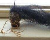 Shrunken Head Sculpture, Hand Made Shrunken Head, Small Shrunken Head, Hanging Shrunken Head