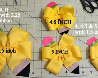 Pencil Bow...Pencil Hair Bow...Uniform Hair Bow...Back to School Hair Bow...Navy hair bow...yellow hair bow...School Bow