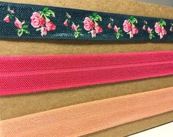 Vintage teal/pink/peach flowers elastic headband adult child elastic headbands