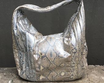 SALE - Silver Natural Hobo Python Leather Hobo Shoulder Bag