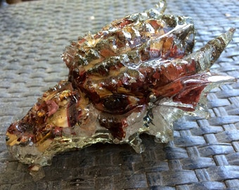 Orgonite Mookaite Dragon, (1) Raw and Natural Mookaite from Australia, iron pyrite and Himilayan Pink Salt Crystals, Weighs 14 ounces,