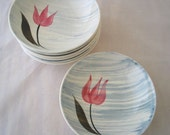 7 Stetson Pink Tulip with Gray Stripes Berry Bowls Set of 7 Vintage 1950s