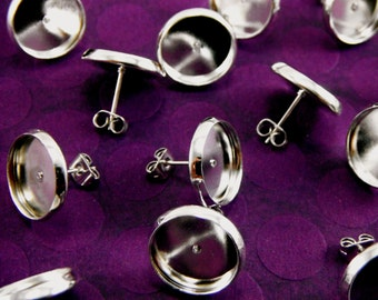 20 Pcs Earring Posts With Butterfly Earnuts Silver Color (12mm Tray)- Size: 14mm Diameter, 12mm Inner Tray Diameter, Pin 1mm EAR001