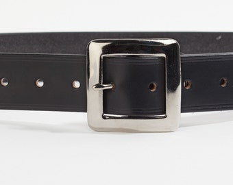 Black Bridle Leather Belt with 1.5 inch Square Buckle