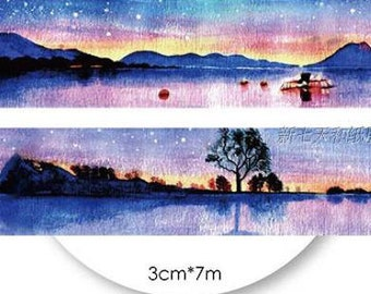 1 Roll of Limited Edition Washi Tape: Lake with A Boat