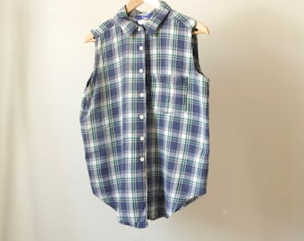 plaid grunge 90s collared oxford chambray FLANNEL TANK top denim shirt