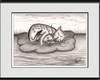 Sleeping cat with kitten, home decor wall art, cat lover, canvas wall art, vintage home decoration, digital download, wall pictures
