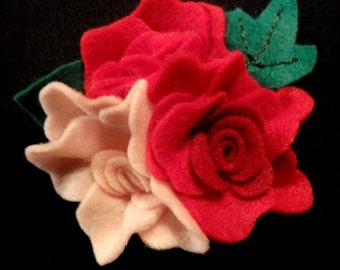 Red and Pink Felt Rose Brooch