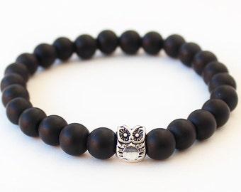 Owl bracelet, matte black onyx bracelet, men's bracelet, mens owl bracelet, boyfriend gift, gift for him, for men, mens bracelet
