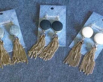 SALE! : Denim Tassel Fringe Earrings