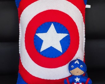Captain America Inspired Felt Throw Pillow with Cap' keychain