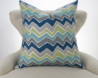 Navy & Gray Floor Pillow -up to 28x28 inch- Zigzag, Navy Blue, Green and Gray Pillow, Chevron Pillow, Seesaw Felix Premier Prints FREESHIP