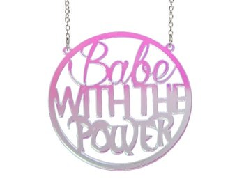 Babe With The Power - Labyrinth necklace - laser cut radiant acrylic