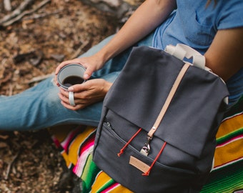 Grey cotton backpack PANDA / natural leather handles / perfect for picnic, walking and bicycle trips