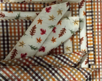 """Quality Thanksgiving - Fall Themed Table Runner and Matching Napkins - Gold - Brown - Orange - Rust - Leaves - Plaid - 16"""" X 80"""" Runner"""