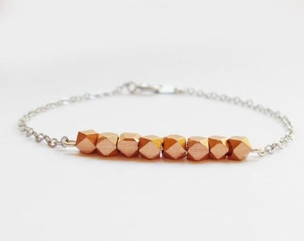 10% OFF SALE Rose Gold Beads on Silver Chain Bracelet - Rose Gold and Silver Bracelet