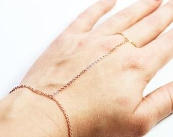 10% OFF SALE Simple Rose Gold Hand Chain - Rose Gold Slave Bracelet