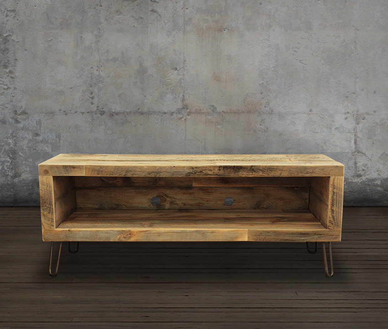 Reclaimed wood media console tv stand 48 for Meuble tv console