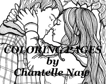 Cute couple, Coloring page, adult coloring picture, digital download, advanced coloring, printable coloring page, zentangle