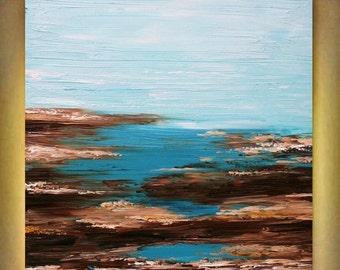 SALE Original Abstract  Seascape Aqua    Heavy Impasto  Palette Knife  Modern Art  Painting . Size 40 x 30.