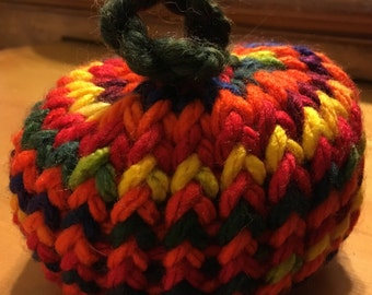 Fall Fiesta Handmade Crochet Yarn Mini Pumpkin Boho Orange Striped