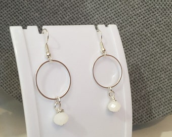 Drop Earrings - White Earrings, Crystal Earrings, Circle Earrings, Drop Earrings, Dangly Earrings, Jewellery, Dangle Earrings, Drop, Circle