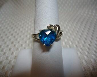 Heart Cut Blue Mystic Topaz Ring in Sterling Silver   1811
