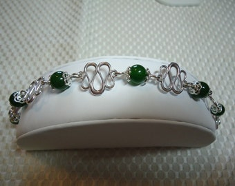 Jade and Sterling Silver Bracelet   1833